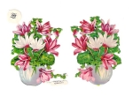 Victorian Die-cut Flower Pots Pink And White Flowers