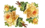 Victorian Die-cut Yellow Embossed Rose's