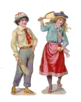 Two Victorian Children Playing Badmattion Die-cut