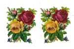 Victorian Die-cut Yellow And Red Roses German Made