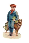 Victorian Die-cut Boy With Dog