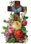 Victorian Die-cut Scrap Cross With Flower Bouquet