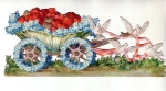 Vintage Victorian Die-cut Scrap Flower Cart Wit Hearts Pulled By Doves