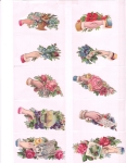 Victorian Die-cut Scrap Hands With Flowers And Roses Group Of 10