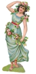 Victorian Die-cut Girl With Rose's And Blue Gown German Made