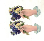 Victorian Die-cut Ladies Hands With Pansies