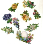 Victorian Group Of Small Die-cut Mixed Flowers, Rose's And Easter Egg