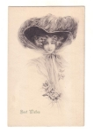 Vintage Postcard Best Wishes Beautiful Lady With Large Hat