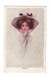 Vintage Phillip Boileau Lady In Hat Postcard Artist Signed 1907