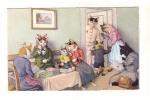 Vintage Postcard Max Kunzli Dressed Cats Cats At The Dentist Office