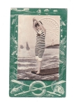 Vintage Postcard Early Swiming Lady In Pants