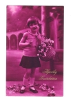 Real Photo Postcard Little Girl With Flower Basket Foreign