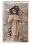 Vintage Real Photo Postcard Lady With Big Hat And Flowers Hand Tinted French