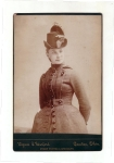 Victorian Cabinet Card Ladie In Unusual Plaid Dress With Hat And Large Buttons