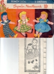 Vintage 9 Inch Doll Pattern Superior/ Three Dresses