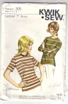 Vintage Pattern Kwik Sew Ladies T Shirt 1970