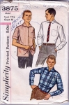 Vintage Mens' Contour Shirt Pattern Dress Or Casual Size 15 1/2 Chest 40