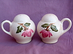 Pink Flower Large Salt And Pepper Shakers