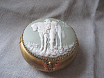Jasperware And Brass Powder Box