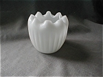 Milk Glass Ruffled Vase