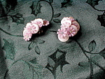 Pink Plastic Flower Earrings