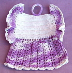 Vintage Hand Crocheted Dress Pot Holder Potholder