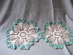 Green And Tan Doilies