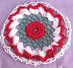 Vintage Hand Crocheted Red Rose Hotpad Cover