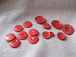 Group Of Large Vintage Red Buttons