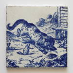 Cat Pouncing On Duck - Victorian Series Tile