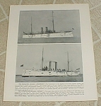 1898 Naval Ship Print, Uss Cincinnati; Uss Detroit; Gun Photos