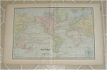 Original 1893 Antique Map Of The World; World Antique Map