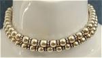 Dbl Strand Faux Pearls W/ Rhinestone Rings Choker