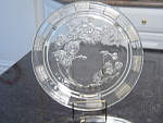 Depression Glass Federal Sharon Cabbage Rose Crystal Cake Plate
