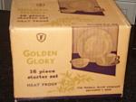 Federal Glass Golden Glory White Milk Glass W Gold 16 Pc Dinnerware Set- Mib- Mint In Original Box
