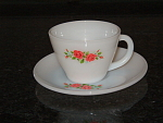 Old Fire King Red Rose Cup And Saucer Set- Fireking