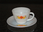 Old Fire King Orange Flowers Pansies Cup And Saucer Set Cups Saucers- Fireking
