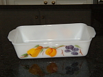 Fire King Gay Fad Fruit Fruits Bake Loaf Pan Casserole-fireking