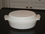 Fire King Anchor White Milk Glass Casserole With Lid- Fireking