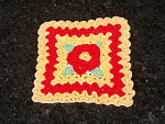 Vintage Rose Red And Pumpkin Crochet Hot Pad Pot Holder