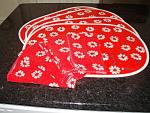 Vintage Vera Mod Red Flower Placemats And Napkins- Set Of 4- Ladybug Retro