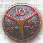 Vintage Safe Driver San Diego Police 10 Pin
