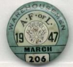 Afo L Warehousemen 1947 Union Pin Button