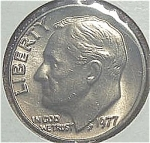 1977 Roosevelt Dime Cut From Mint Set Coins