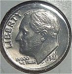 1981-p Roosevelt Dime Cut From Mint Set Coins