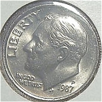 1987-p Roosevelt Dime Cut From Mint Set Coins