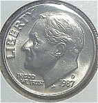 1987-d Roosevelt Dime Cut From Mint Set Coins