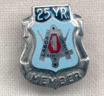 25 Year Member Sterling Silver Union Labor Pin