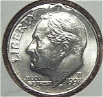 1998-d Roosevelt Dime From Original Bu Roll Coins