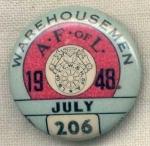 Afofl Warehousemen 206 July 1948 Union Pin